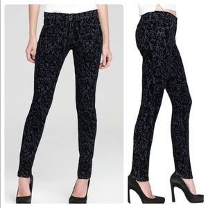4250 J Brand Burnout Black Brocade Skinny Jeans 25